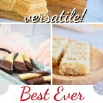 Pine with three images for best ever shortbread recipe. Top image of molded shortbread, bottom images of chocolate dipped shortbread wedges and shortbread bars.