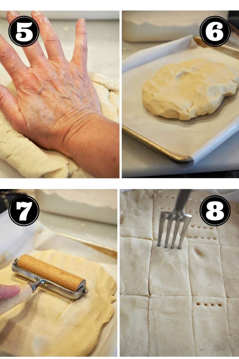 process shots for classic shortbread cookies. 5. kneading dough smooth. Placing in jelly roll pan. 7. smoothing into pan. 8. pricking with fork and scoring