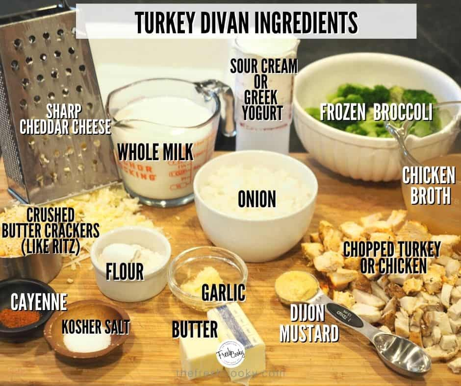 Image of turkey divan ingredients. L-R. Gruyere cheese, whole milk, broccoli, chicken broth, leftover turkey, dijon mustard, onions, garlic, butter, salt, flour and sour cream