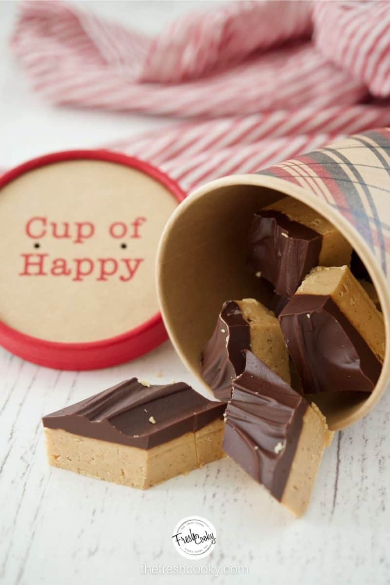 A small gift bucket filled with pieces of Buckeye Bar pieces spilled onto the counter top. Cup of Happy lid in the background.