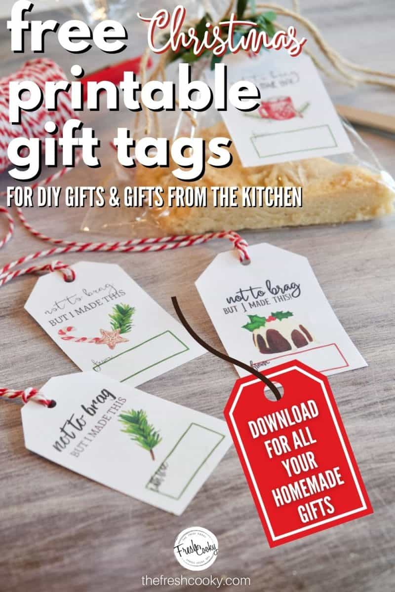 Free Printable Christmas Gift tags pin. Image of product with cute gift tag, plus 3 more tags that are all free.