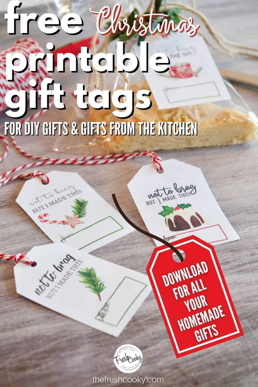 These free Christmas Gift Tag printables are perfect for all of your holiday food making, food gifts, handmade gifts, DIY gifts and more. 3 different types, each with 4 designs, all free! #thefreshcooky #freeprintables #christmasgifttags via @thefreshcooky