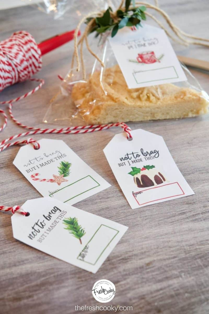 """gift tags for Christmas on a tray with a package of shortbread behind it, gift tags say, """"Not to Brag, but I made this."""" with cute watercolor images"""