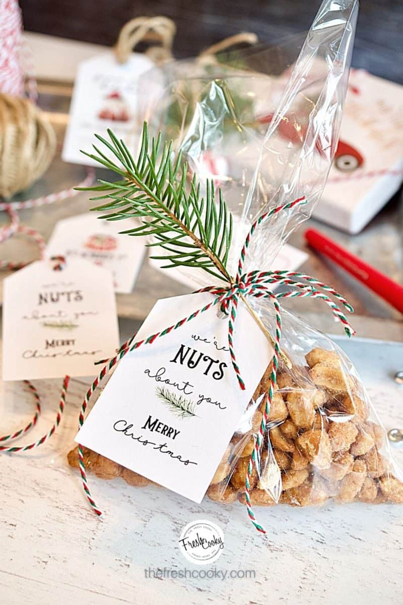 We're Nuts about You! Gift tag on a package of peanuts tied with twine and a sprig of evergreen. Free downloaded gift tags for Christmas