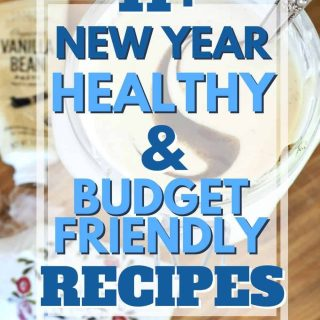 Pin for 11+ New Year Healthy & Budget Friendly Recipes with image of homemade yogurt