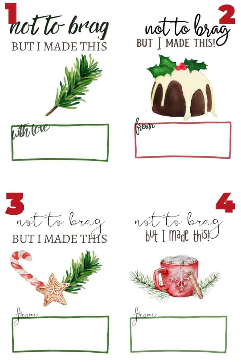 4 gift tag designs, all with not to brad, but I made this. Christmas free printable gift tags