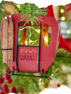 Vail Gondola Ornament on Christmas tree