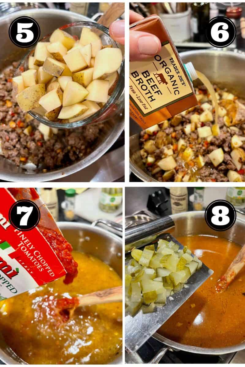 Process shots for healthy cheeseburger soup l-r 5. Adding potatoes 6. pouring in beef broth 7. adding chopped tomatoes 8. adding chopped pickles.