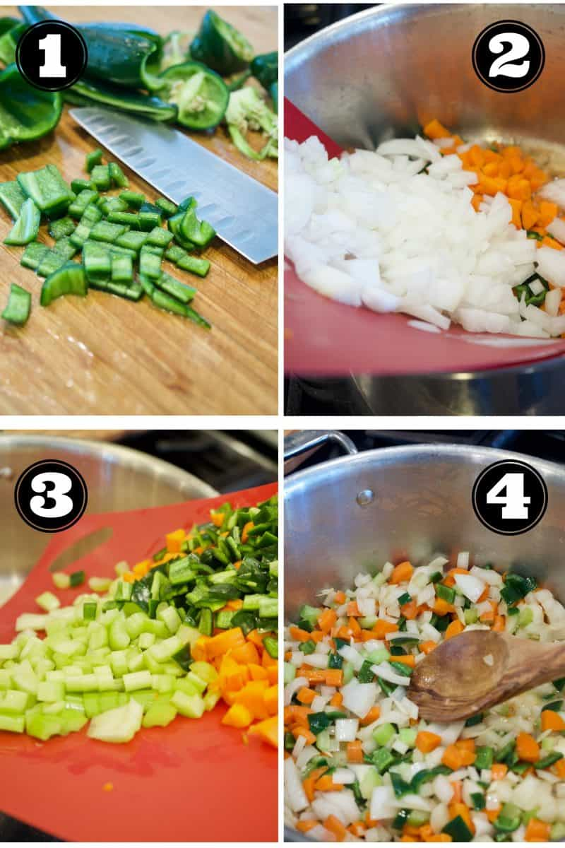 Process shots for Creamy Chicken Poblano Soup. 1. poblano peppers on cutting board with knife, diced. 2. adding diced onions, to butter. 3. Adding celery, carrots and chilis to pot. 4. In soup pot sauteing all of the veggies.