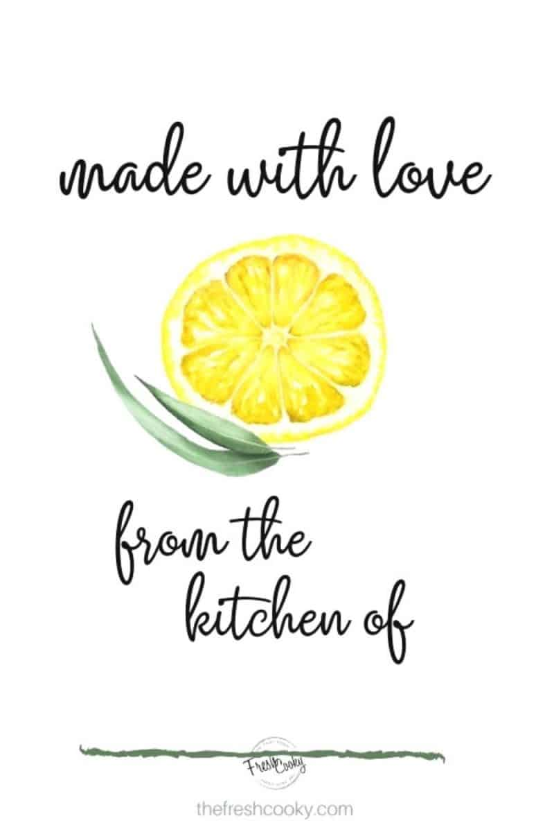 made with love...from the kitchen of with watercolor slice of lemon and eucalyptus leaf with line to write your name