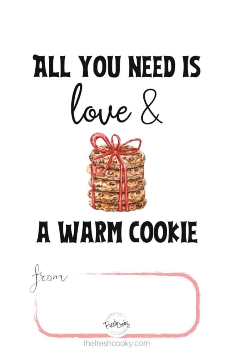 from the kitchen of free gift tags all you need is love and a warm cookie with watercolor of stack of cookies tied with a ribbon plus place to put your name