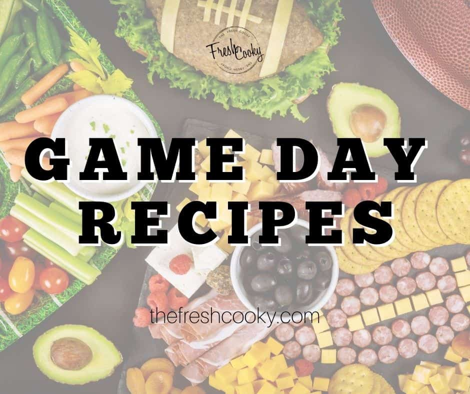 Facebook Game Day Recipes image with crudite platter, meat and cheese board and sliced avocados with football in background.
