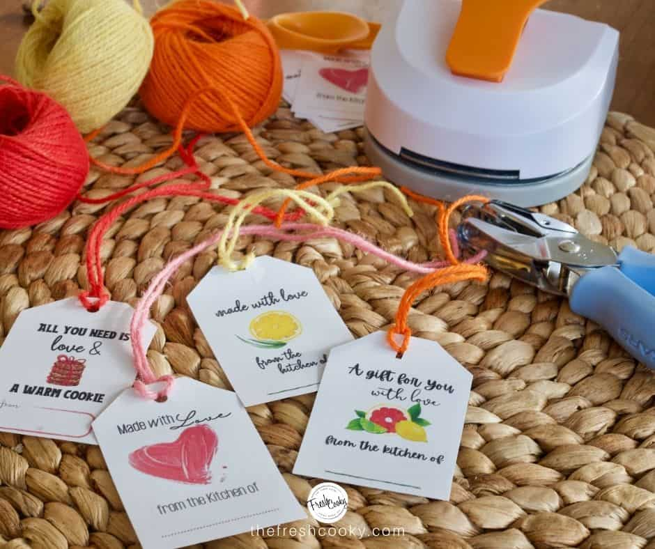 Free printable from the kitchen of...gift tags with cute colorful fonts and watercolor images, heart, lemon, citrus and cookies.