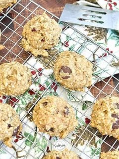 Facebook image Healthy Gluten Free Breakfast Cookies with spatula, cookies sitting on wire cooling rack.