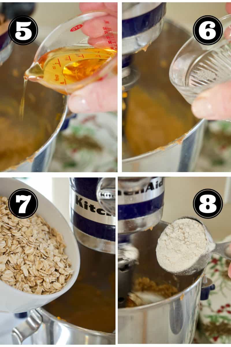 Process shots for Gluten Free Breakfast Cookies 5. Add agave syrup. 6. adding coconut oil. 7. Adding rolled oats. 8. Adding Oat flour