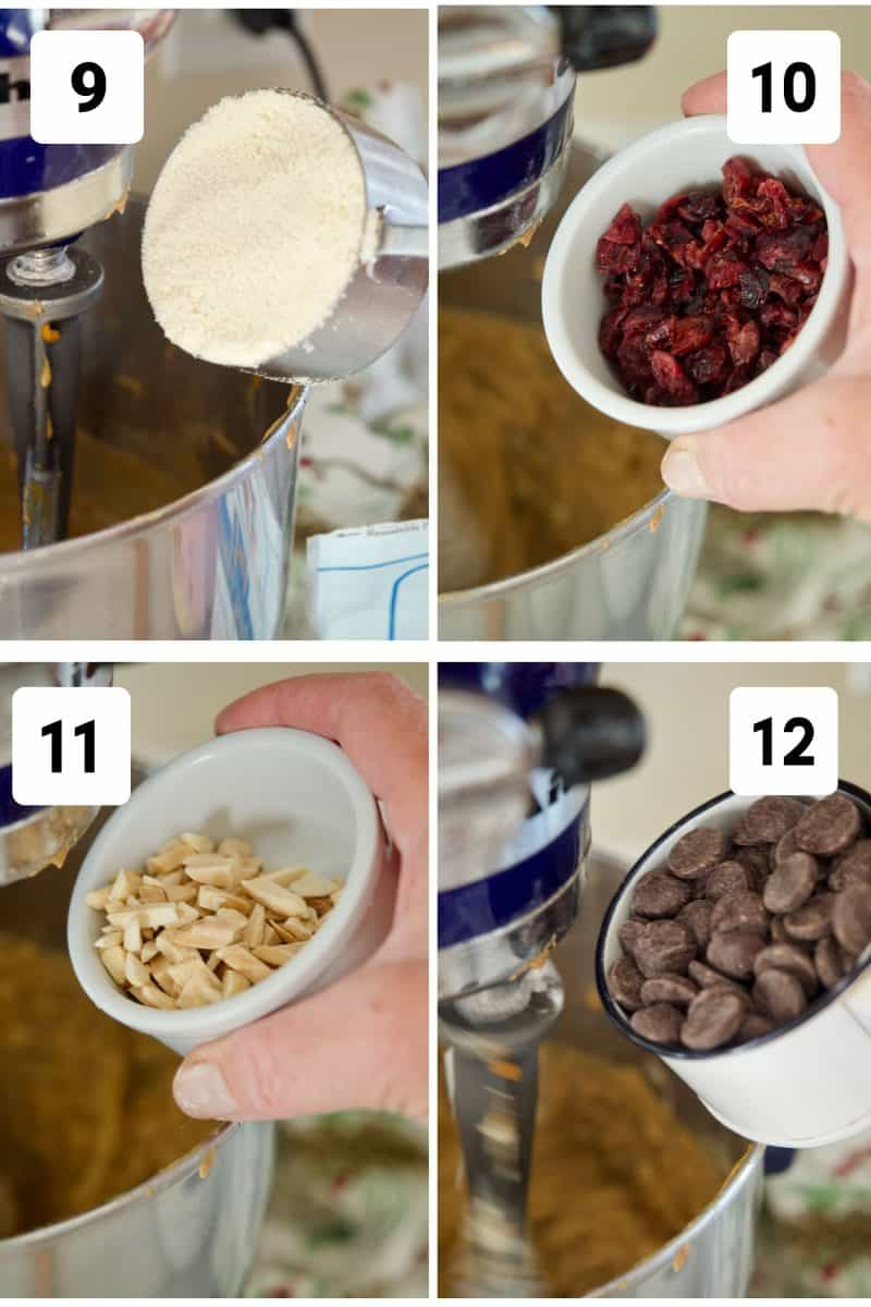 Process shots for Gluten Free Breakfast Cookies 9. Adding Almond flour 10. Adding dried cranberries. 11. adding chopped almonds. 12. adding chocolate chips.