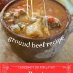 Long pin for easy cheeseburger soup in crockpot using ground beef.