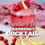 Pinterest Valentine's Day Cranberry Bourbon Sour cocktail with image of cranberry cocktail garnished with fresh raspberries, sprig of thyme, foreground lemon slices and cranberries.