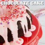 Easy Valentine's chocolate loaf cake in bundt form, pin with image of bundt cake covered in pink icing with valentine's sprinkles.
