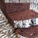 Pin for Easy Chocolate Loaf Cake sliced on cooling rack dusted with powdered sugar with High Altitude info.