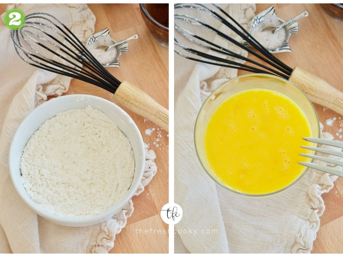 flour and powdered sugar whisked together in white bowl, next to image of eggs whisked well in bowl for easy lava cake recipe
