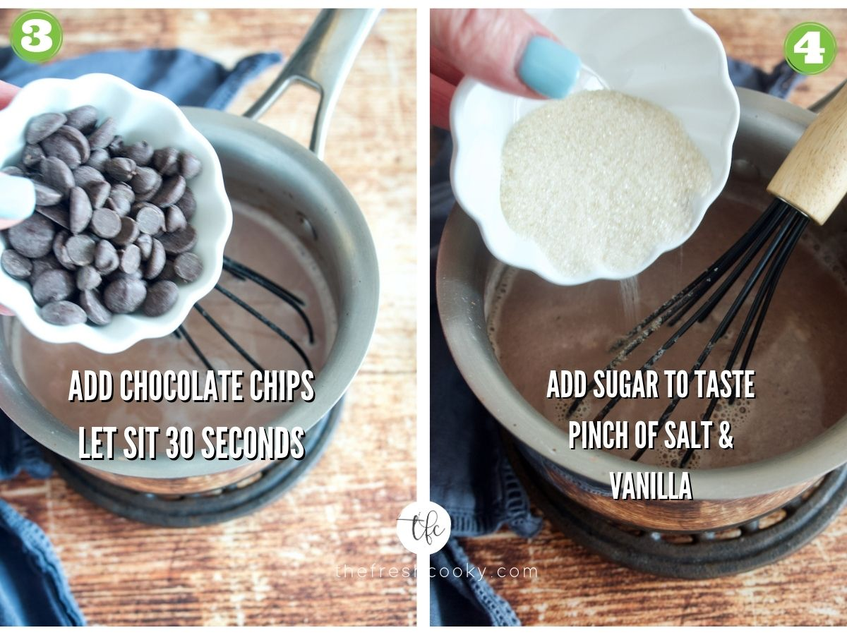 Hot Chocolate Recipe Process Shots 3. Adding chocolate chips to milk cocoa mixture. 4. Pouring in sugar to cocoa.