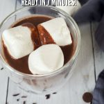 Pinterest image of Rich Homemade Hot Chocolate with glass mug filled with dark hot chocolate topped with 3 marshmallows.