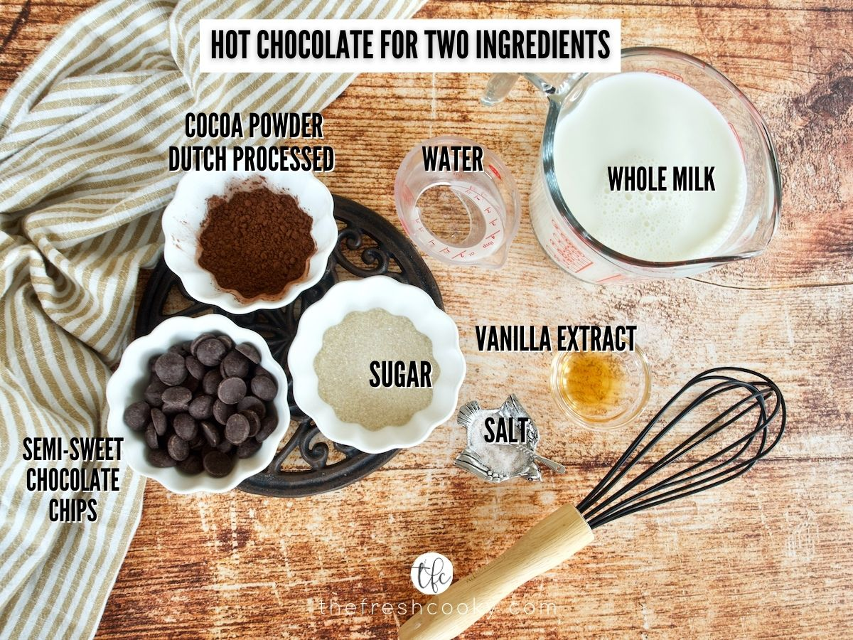 Image with Homemade Hot Chocolate Ingredients: L-R cocoa powder, water, whole milk, vanilla, salt, sugar and chocolate chips.