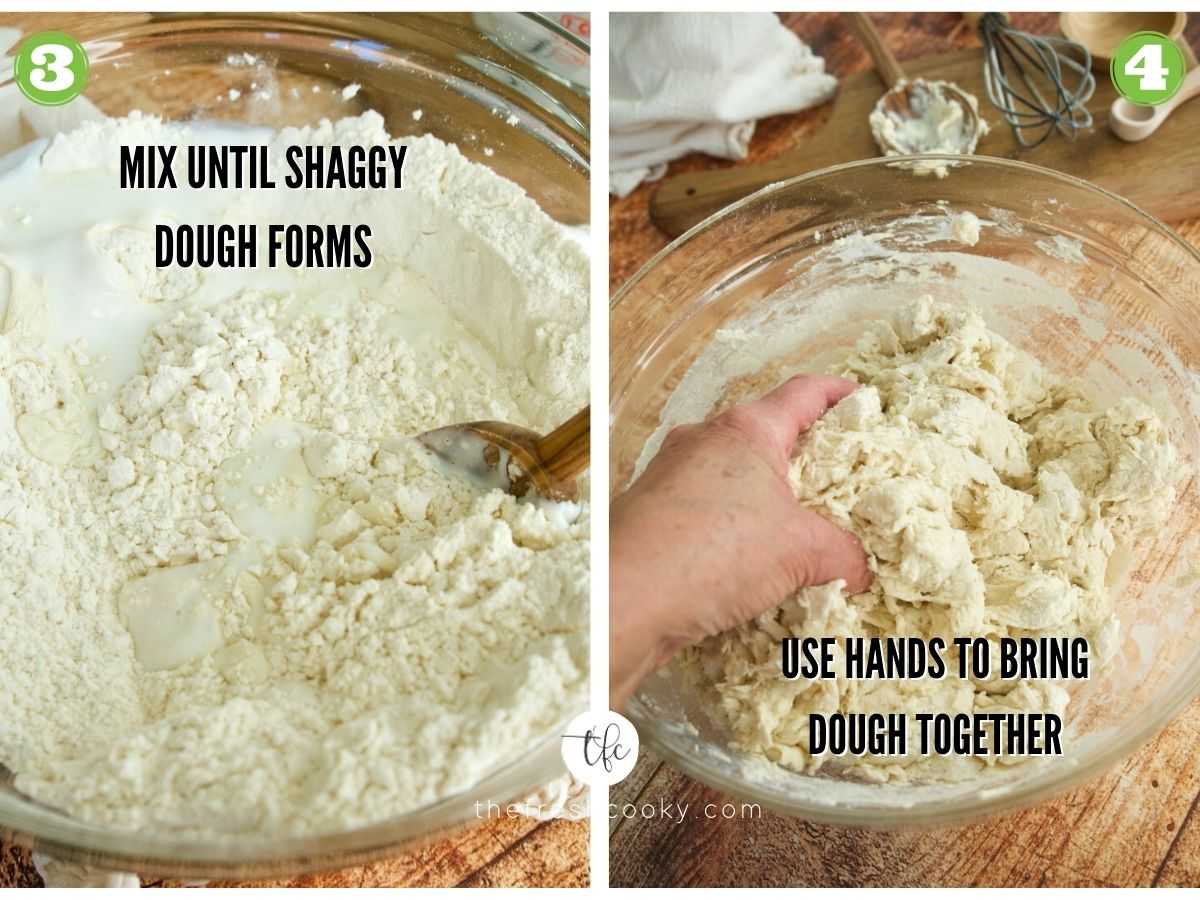 Process shots for Irish Soda Bread, wooden spoon mixing in buttermilk, hands mixing into a sticky dough