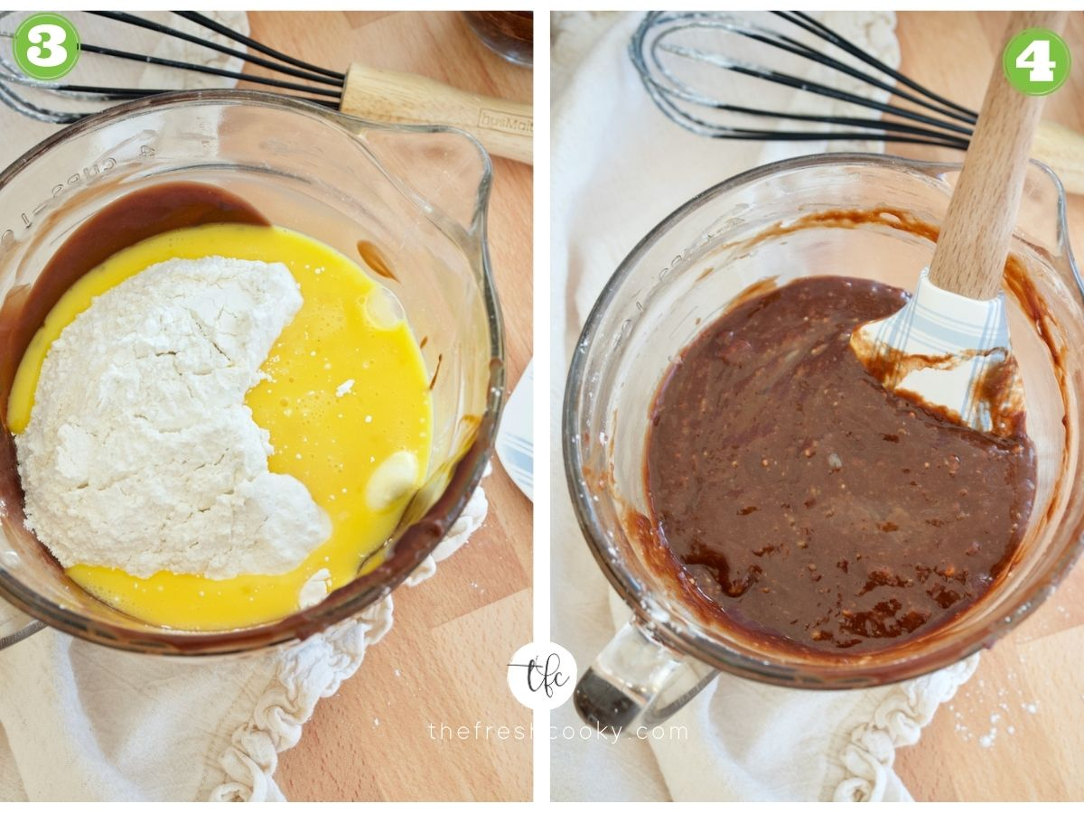 two images left image chocolate, egg mixture and flour and sugar mixture, 2nd image spatula mixing chocolate, eggs, flour mixture for easy lava cake recipe