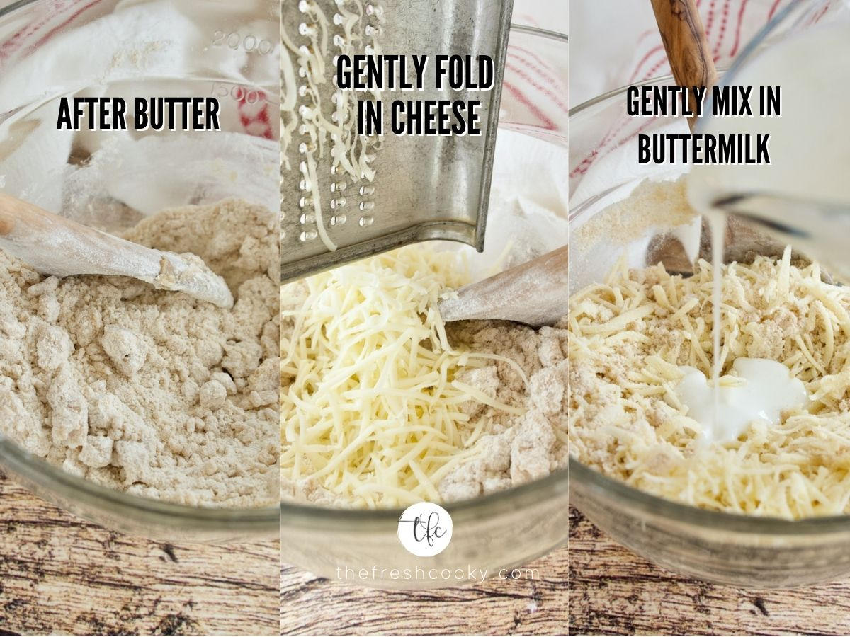 process shots, how batter looks after butter, 2. adding cheese. 3. pouring in buttermilk.