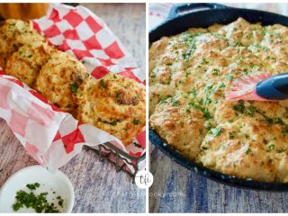 Two images, Red Lobster Cheddar Bay Biscuits, a. drop biscuits, b. skillet biscuit.