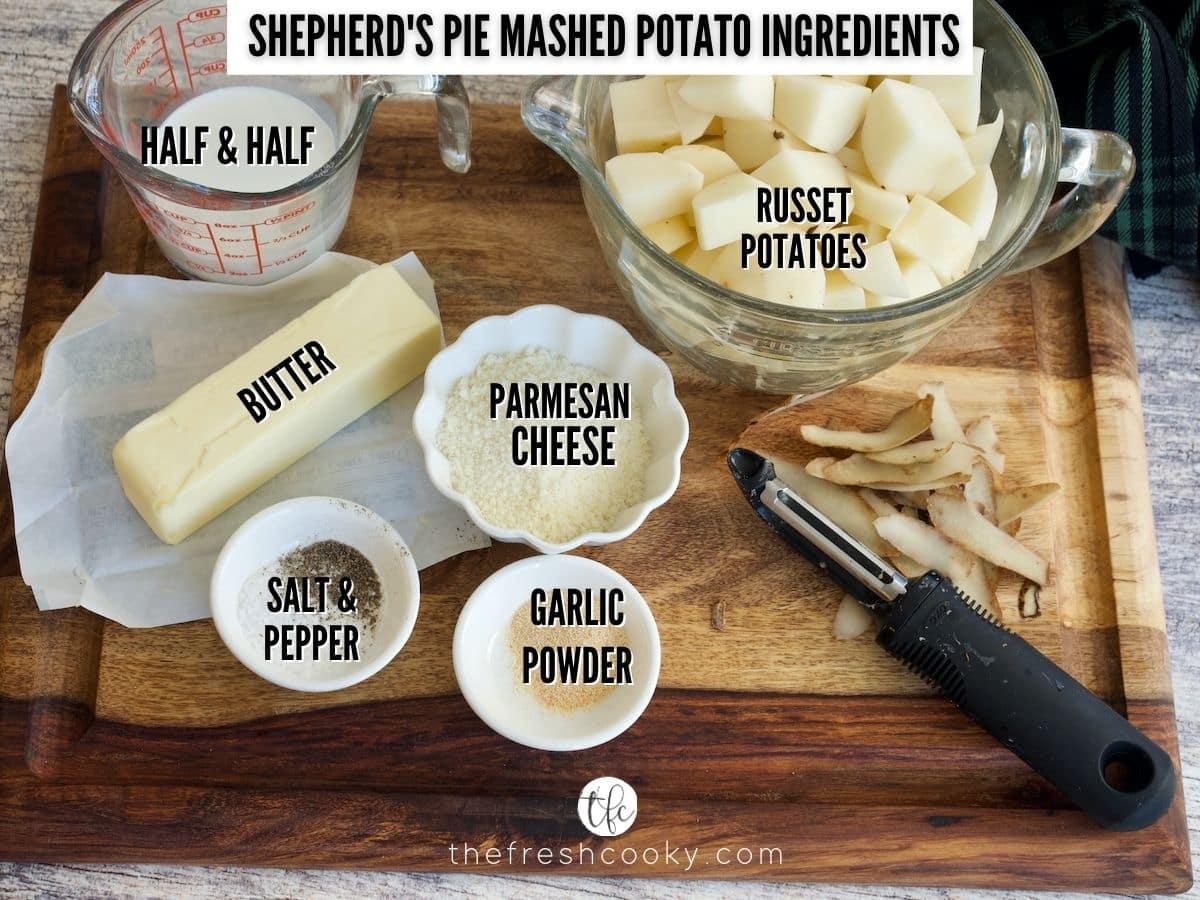 Ingredient shot for Mashed Potatoes, L-R Half & Half, cubed potatoes, parmesan cheese, garlic powder, salt & pepper, butter.