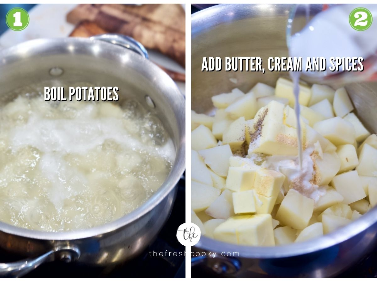 Process shot for Garlic and Cheese Mashed Potatoes 1) potatoes boiling in water 2) adding spices, butter and cream to potatoes