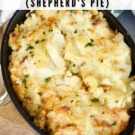 Pinterest image of classic cottage pie in skillet.