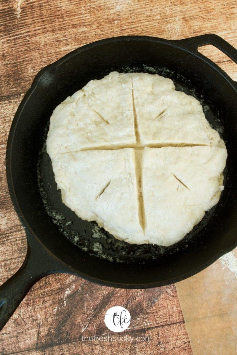 process shot of 4 ingredient Irish soda bread dough in cast iron pan.