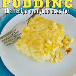 Corn Pudding Casserole without jiffy pin with serving of corn pudding on pretty plates.