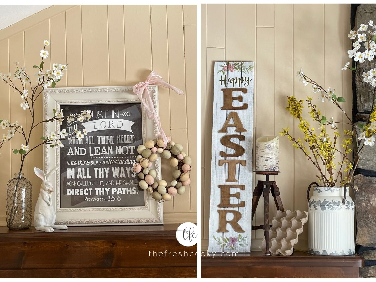 Easter decor on mantel with word picture, Easter Sign, cherry blossoms and forsythia.