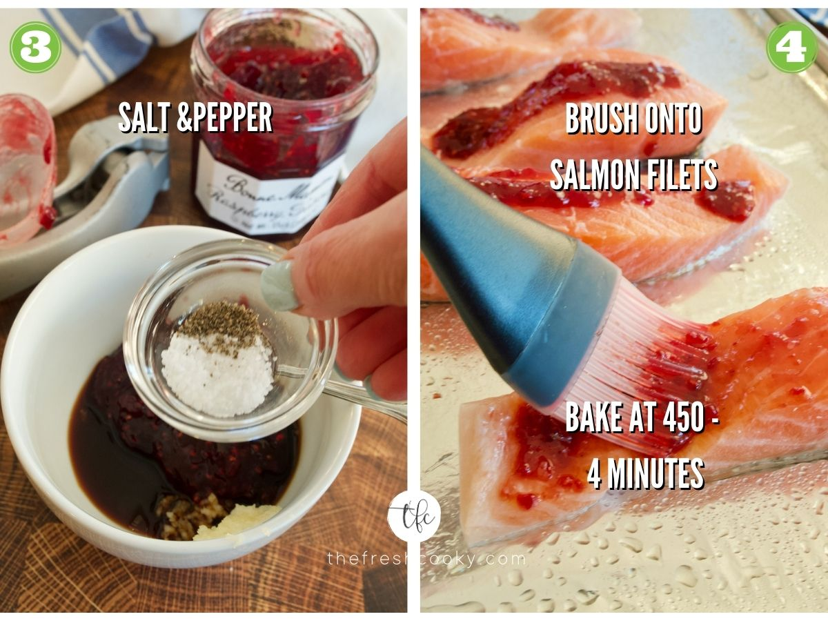 Process shots for raspberry glazed salmon 3) adding salt and pepper to glaze 4) brushing glaze on salmon