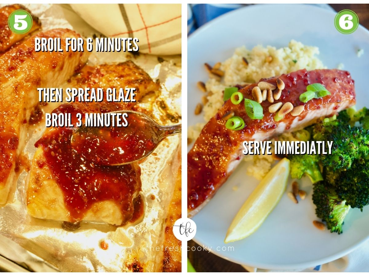 Process shots for raspberry glazed salmon 5) adding final amount of glaze to partially baked salmon 6) plated salmon.