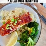 Pin for How to make a salmon glaze with top down shot of plated raspberry glazed salmon with couscous and broccoli.