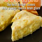 Orange Scone Pin with close up image of several scones on a black plate.
