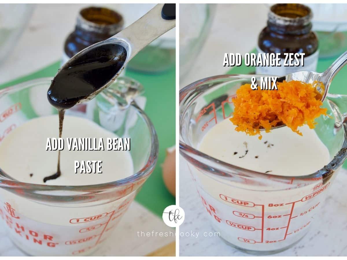 adding vanilla bean paste and orange zest to orange scone liquids.
