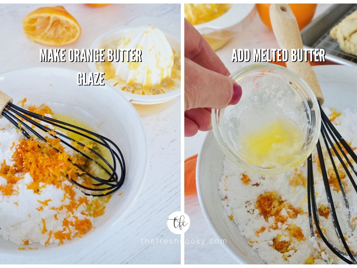 process shots for orange vanilla scones glaze adding zest to powdered sugar and adding melted butter.