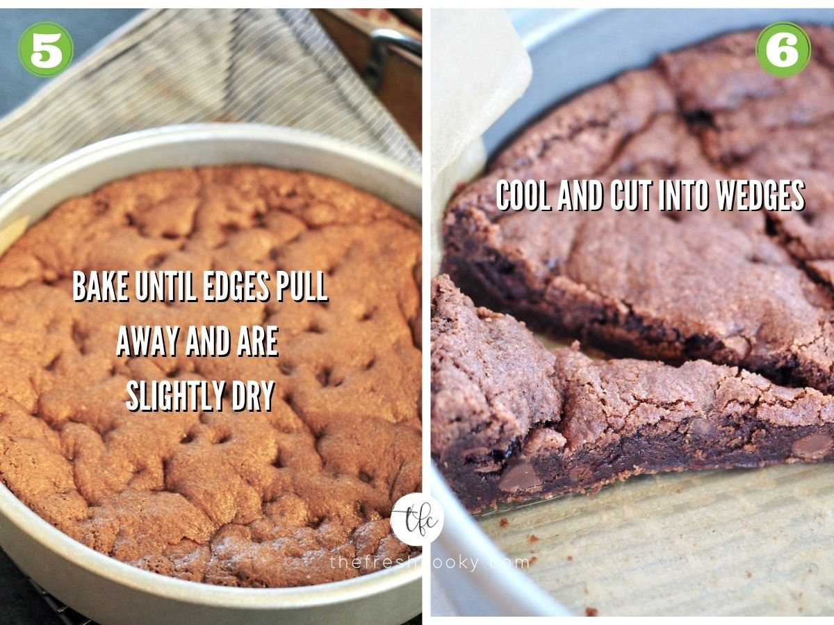 Process shots for Chocolate Shortcake 5) baked chocolate shortcake 6) cooled and sliced into wedges.
