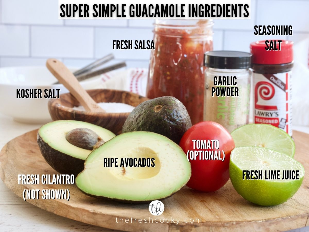 Ingredients for super simple guacamole, L-R Ripe avocados, kosher salt, salsa, garlic powder, Lawry's seasoning, fresh lime, roma tomato.