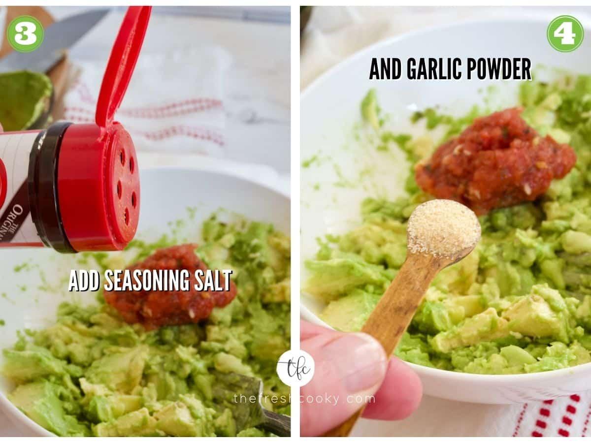 Process shots for super simple guacamole 3) adding Larry's seasoning salt 4) adding garlic powder.