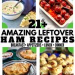 Long pin for Pinterest with 8 recipes for using leftover ham. 1. tex-mix ham & potato pancakes 2) ladle with soup 3) ham, mac and cheese soup 4) Iowa ham balls 5) ham calzones 6) stuffed ham potato skins 7) fettuccine alfredo 8) smoked gouda and ham quiche