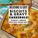 Pin for delicious and easy biscuits and gravy casserole with image of casserole in background with wooden spoon.