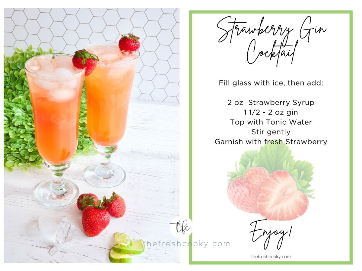 FB two images side by side Strawberry GIn Cocktails in pretty glasses on counter and sign for Strawberry Gin Cocktail a free download.